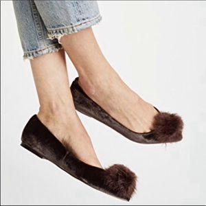 Sam Edelman Raddie Faux Fur Pompom Flat Shoes